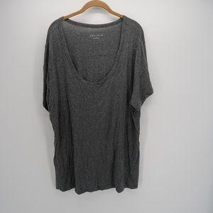 Ava & Viv Gray Scoop Neck Short Sleeve Blouse 2X